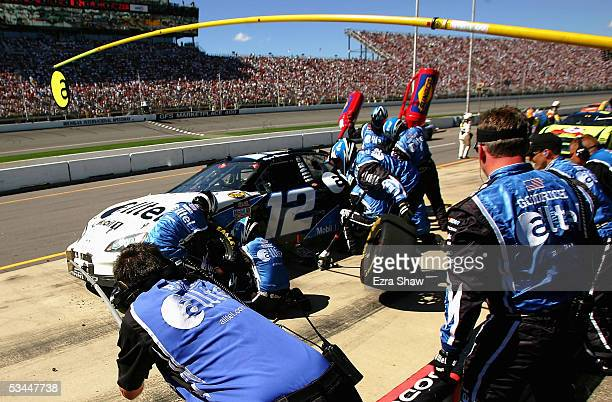 Ryan Newman driver of the alltel Dodge car comes in for a pit stop during the GFS Marketplace 400 Nextel Cup Series Race on August 21 2005 at the...