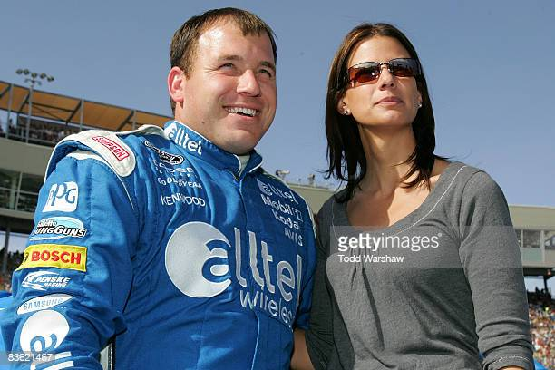 Ryan Newman driver of the alltel Dodge stands with his wife Krissie prior to the NASCAR Sprint Cup Series Checker O'Reilly Auto Parts 500 at Phoenix...