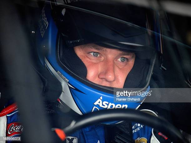 Ryan Newman driver of the Aspen Dental Chevrolet sits in his car during practice for the NASCAR Sprint Cup Series AllStar Race at Charlotte Motor...