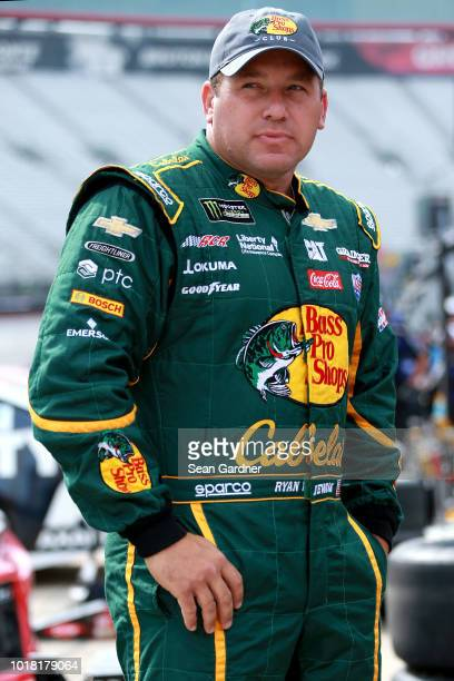 Ryan Newman driver of the Bass Pro Shops/Cabela's Chevrolet stands by his car during practice for the Monster Energy NASCAR Cup Series Bass Pro Shops...