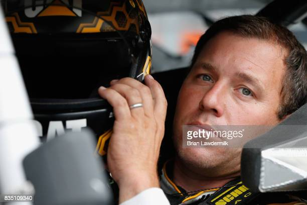Ryan Newman driver of the Caterpillar Chevrolet sits in his car during practice for the Monster Energy NASCAR Cup Series Bass Pro Shops NRA Night...