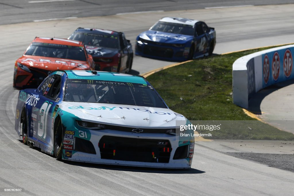 Ryan Newman Driver Of The Ebay Motors Chevrolet Leads A Pack Of News Photo Getty Images