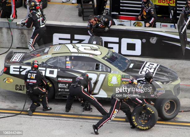 Ryan Newman driver of the EZGO Chevy pits his car during the NASCAR Monster Energy Series Ford EcoBoost 400 at HomesteadMiami Speedway in Homestead...