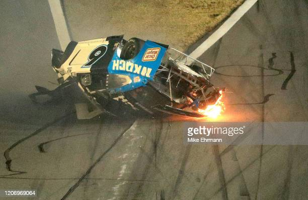 Ryan Newman driver of the Koch Industries Ford crashes and flips during the NASCAR Cup Series 62nd Annual Daytona 500 at Daytona International...
