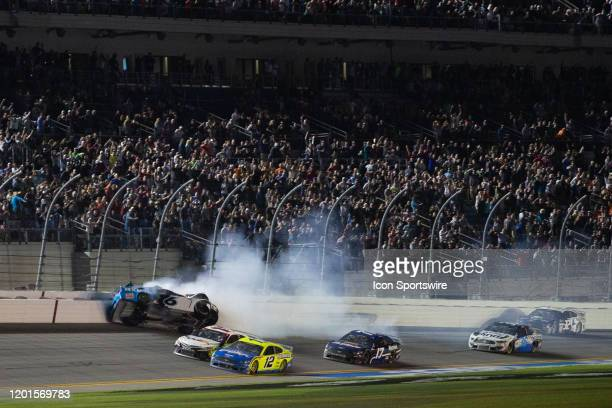 Ryan Newman driver of the Roush Fenway Racing Koch Industries Ford Mustang crashes during the Daytona 500 on February 17 2020 at Daytona...