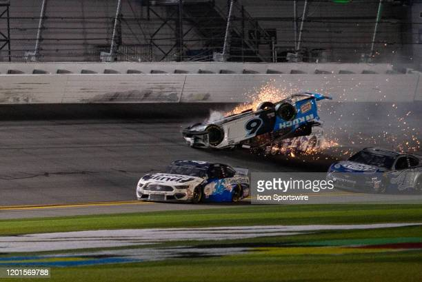 Ryan Newman driver of the Roush Fenway Racing Koch Industries Ford Mustang collides with Corey LaJoie driver of the Go FAS Racing RangingBullcom Ford...