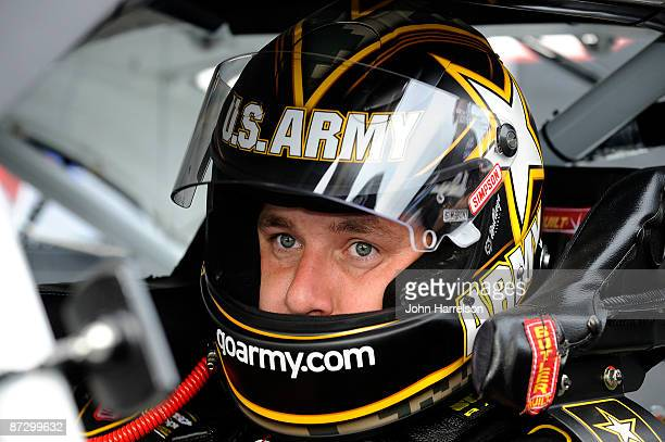 Ryan Newman driver of the US Army Chevrolet sits in his car during qualifying for the NASCAR Sprint AllStar Race on May 15 2009 at Lowe's Motor...