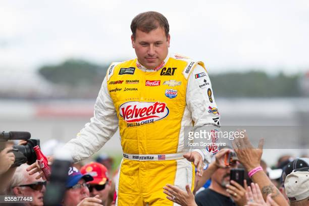 Ryan Newman driver of the Velveeta Shells Cheese Chevrolet greets fans during the prerace ceremonies of the Monster Energy NASCAR Cup Series Pure...