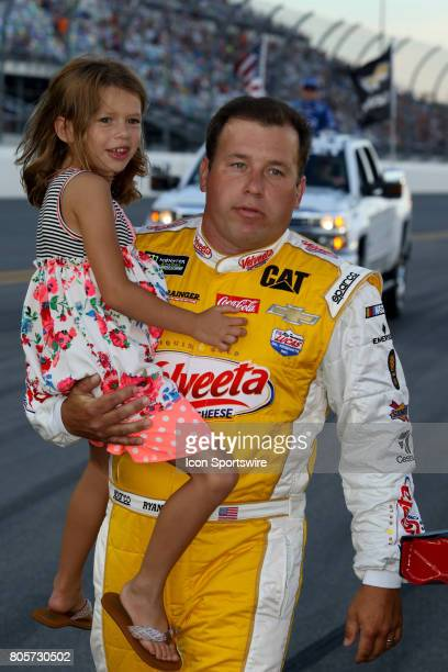 Ryan Newman driver of the Velveeta Shells Cheese Chevy and daughter Ashlyn during introductions for the Coke Zero 400 Monster Energy Cup Series race...
