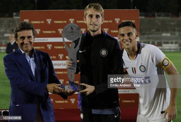 Ryan Nolan and Gabriele Zappa R of FC Internazionale celebrate with the trophy after winning the Mamma Cairo Trophy with Urbano Cairo at the end of...