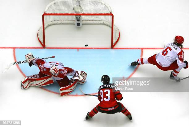Ryan Nugent Hopkins of Canada scores the 6th goal over Denmark during the 2018 IIHF Ice Hockey World Championship group stage game between Canada and...