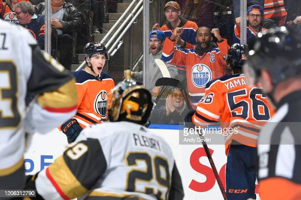 Ryan Nugent-Hopkins and Kailer Yamamoto of the Edmonton Oilers celebrate after a goal during the game against the Vegas Golden Knights on March 9 at...