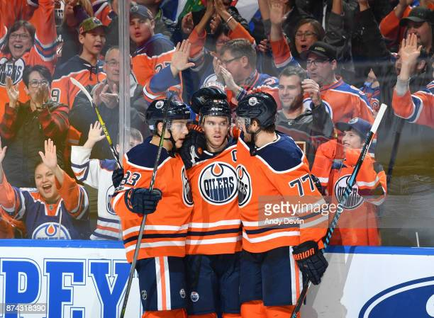 Ryan NugentHopkins Connor McDavid and Oscar Klefbom of the Edmonton Oilers celebrate after a goal during the game against the Vegas Golden Knights on...