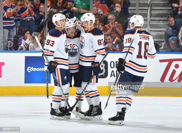 Ryan NugentHopkins Kailer Yamamoto Matthew Benning and Ryan Strome of the Edmonton Oilers celebrate after a goal during the preseason game against...