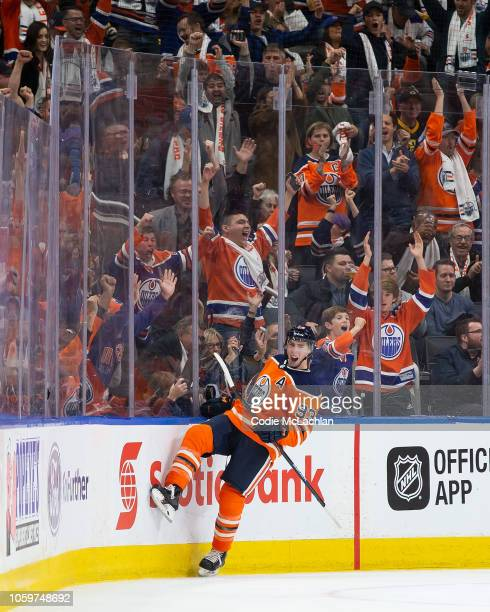 Ryan NugentHopkins of the Edmonton Oilers celebrates a goal against the Boston Bruins at Rogers Place on October 18 2018 in Edmonton Canada