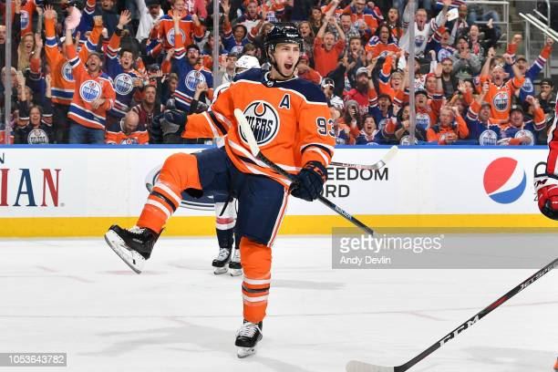 Ryan NugentHopkins of the Edmonton Oilers celebrates after scoring a goal during the game against the Washington Capitals on October 25 2018 at...
