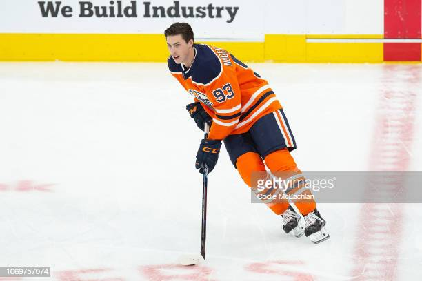 Ryan NugentHopkins of the Edmonton Oilers during warm up against the Montreal Canadiens at Rogers Place on November 13 2018 in Edmonton Alberta Canada