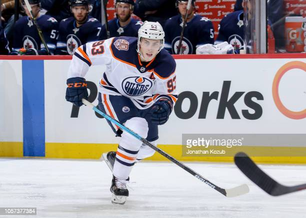 Ryan NugentHopkins of the Edmonton Oilers follows the play down the ice during third period action against the Winnipeg Jets at the Bell MTS Place on...