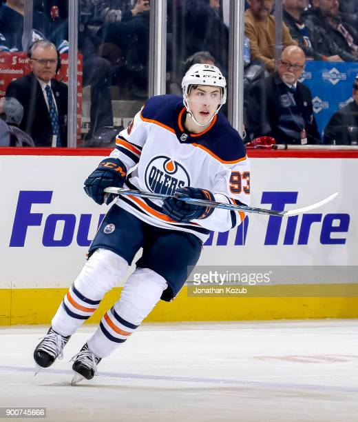 Ryan NugentHopkins of the Edmonton Oilers follows the play down the ice during first period action against the Winnipeg Jets at the Bell MTS Place on...