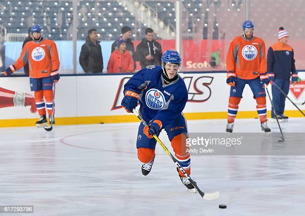 Ryan NugentHopkins of the Edmonton Oilers practices in advance of the 2016 Tim Hortons NHL Heritage Classic game at Investors Group Field on October...