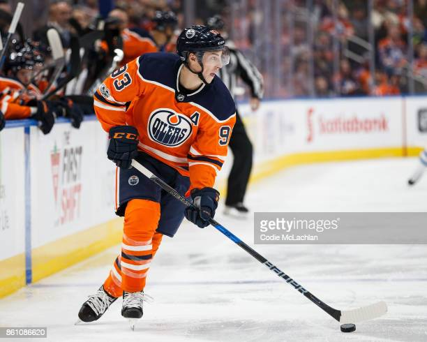 Ryan NugentHopkins of the Edmonton Oilers skates against the Winnipeg Jets at Rogers Place on October 9 2017 in Edmonton Canada