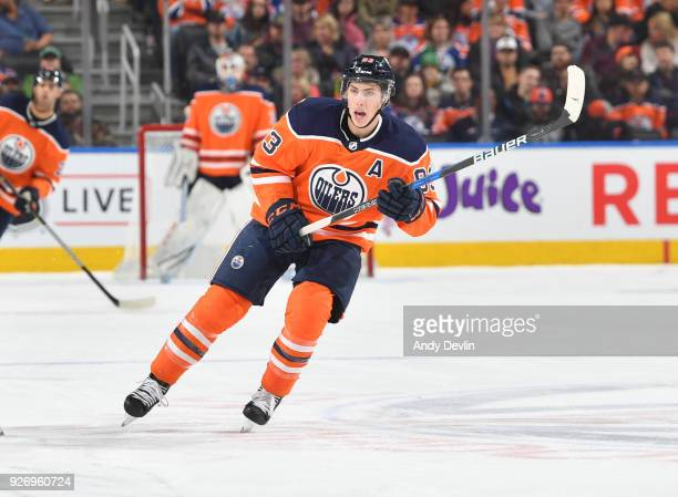 Ryan NugentHopkins of the Edmonton Oilers skates during the game against the New York Rangers on March 3 2018 at Rogers Place in Edmonton Alberta...