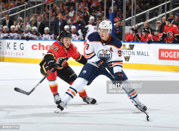 Ryan NugentHopkins of the Edmonton Oilers skates during the preseason game against Ryan Lomberg the Calgary Flames on September 18 2017 at Rogers...