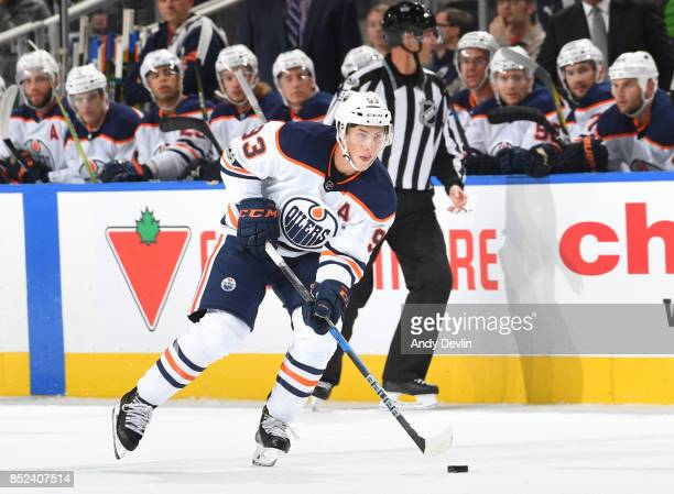 Ryan NugentHopkins of the Edmonton Oilers skates during the preseason game against the Calgary Flames on September 18 2017 at Rogers Place in...