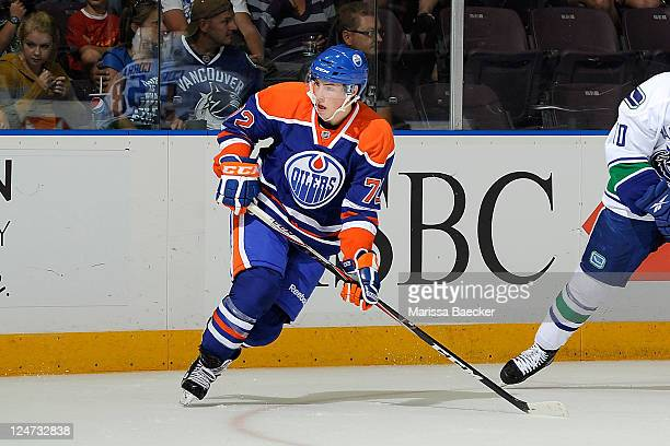 Ryan Nugent-Hopkins of the Edmonton Oilers skates on the ice for the first time in an NHL uniform against the Vancouver Canucks at the 2001 Vancouver...