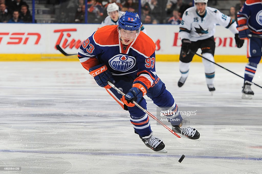 Ryan Nugent-Hopkins #93 of the Edmonton Oilers skates on the ice in a game against the San Jose Sharks on March 25, 2014 at Rexall Place in Edmonton, Alberta, Canada.
