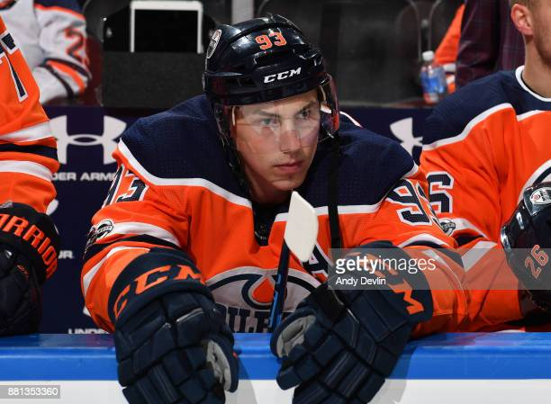 Ryan NugentHopkins of the Edmonton Oilers watches from the bench prior to the game against the Arizona Coyotes on November 28 2017 at Rogers Place in...