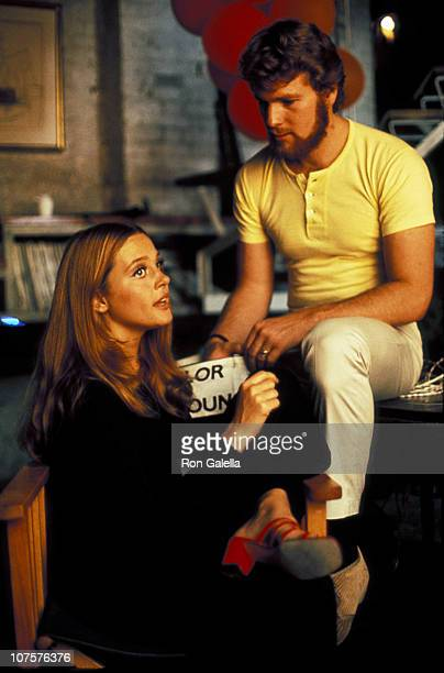Ryan O' Neal Leigh Taylor Young during Buttercup Chain Movie Set