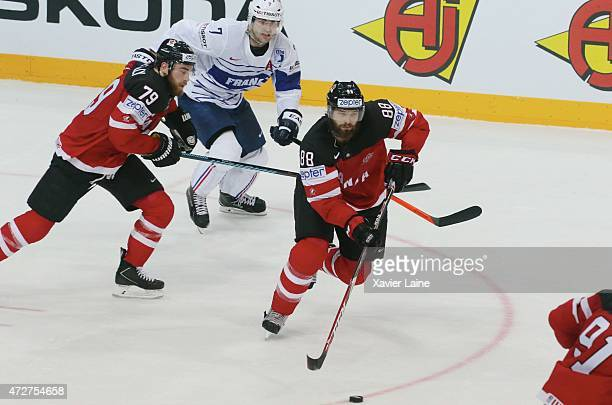 Ryan O Reilly and Brent Burns of Canada during the 2015 IIHF World Championship between France and Canada at O2 arena on May 92015 in Prague Czech...