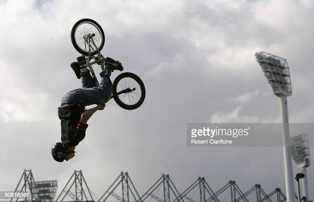Ryan O'Connell in action during the Graphite Dirty Deeds BMX Dirt Jump competition as part the 2004 Planet X Games at the Swan Oval May 9 2004 in...