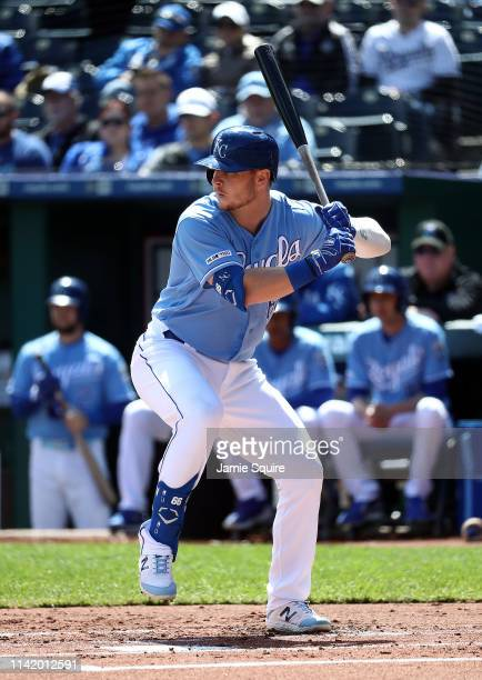 Ryan O'Hearn of the Kansas City Royals bats during the game against the Seattle Mariners at Kauffman Stadium on April 11 2019 in Kansas City Missouri