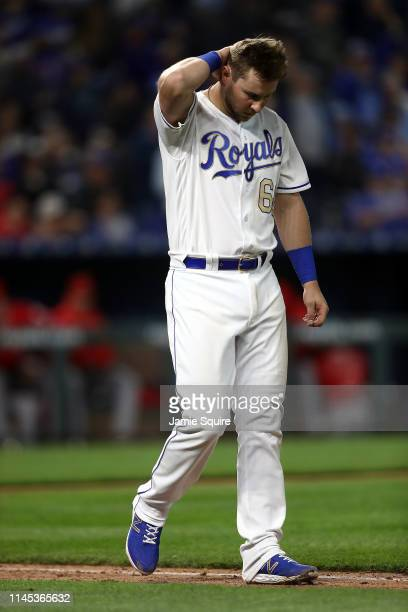 Ryan O'Hearn of the Kansas City Royals reacts after striking out during the game against the Los Angeles Angels at Kauffman Stadium on April 26 2019...