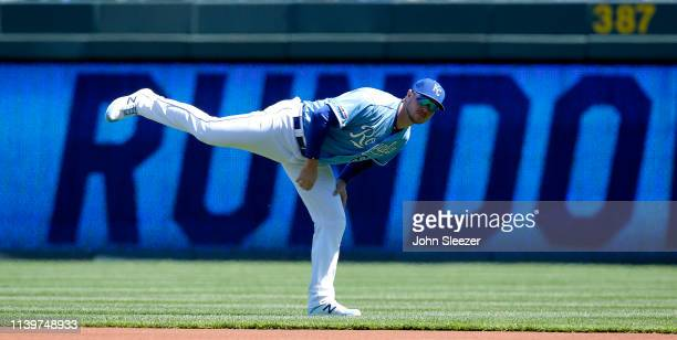 Ryan O'Hearn of the Kansas City Royals stretches before the game against the Chicago White Sox at Kauffman Stadium on March 31 2019 in Kansas City...