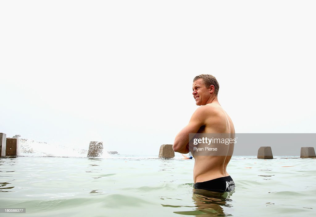 Ryan O'Keefe of the Swans swims during a recovery session at Coogee Beach on September 15, 2013 in Sydney, Australia.
