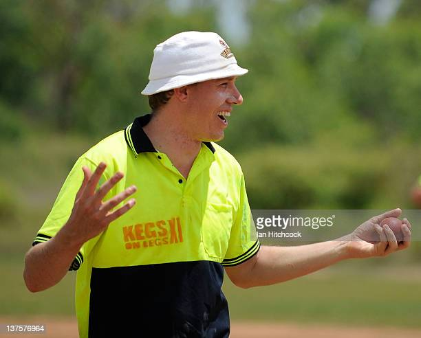 Ryan O'Leary from the team 'Kegs On Legs XI' shares a joke with teammates during the 2012 Goldfield Ashes cricket competition on January 22 2012 in...