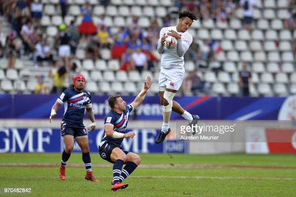Ryan Olowofela of England jumps for the ball during the match between England and the United States Of America at the HSBC Paris Sevens stage of the...