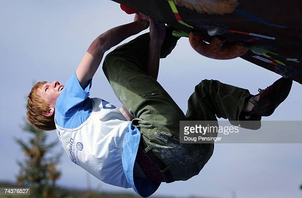 Ryan Olsen of Boulder, Colorado makes an ascent during the Pro Bouldering Qualifier during The Teva Mountain Games on June 1, 2007 in Vail, Colorado.