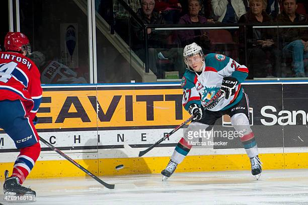 Ryan Olsen of the Kelowna Rockets takes a shot against the Spokane Chiefs on March 5, 2014 at Prospera Place in Kelowna, British Columbia, Canada.