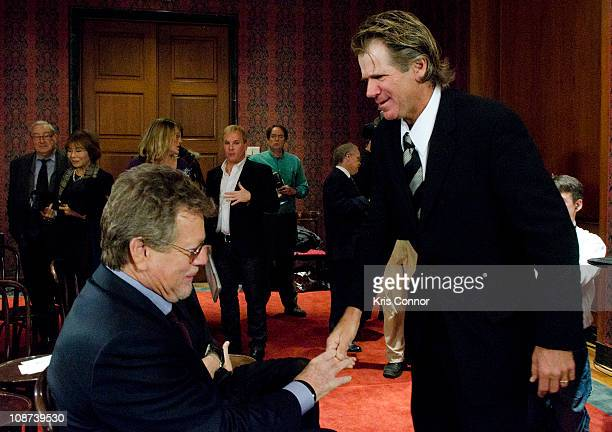 Ryan O'Neal and Nels Van Patten speak during the Farrah Fawcett Memorabilia Donation at the Smithsonian National Museum Of American History on...