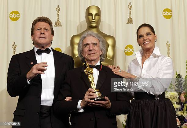 Ryan O'Neal, Arthur Hiller and Ali MacGraw during The 74th Annual Academy Awards - Press Room at Kodak Theater in Hollywood, California, United...