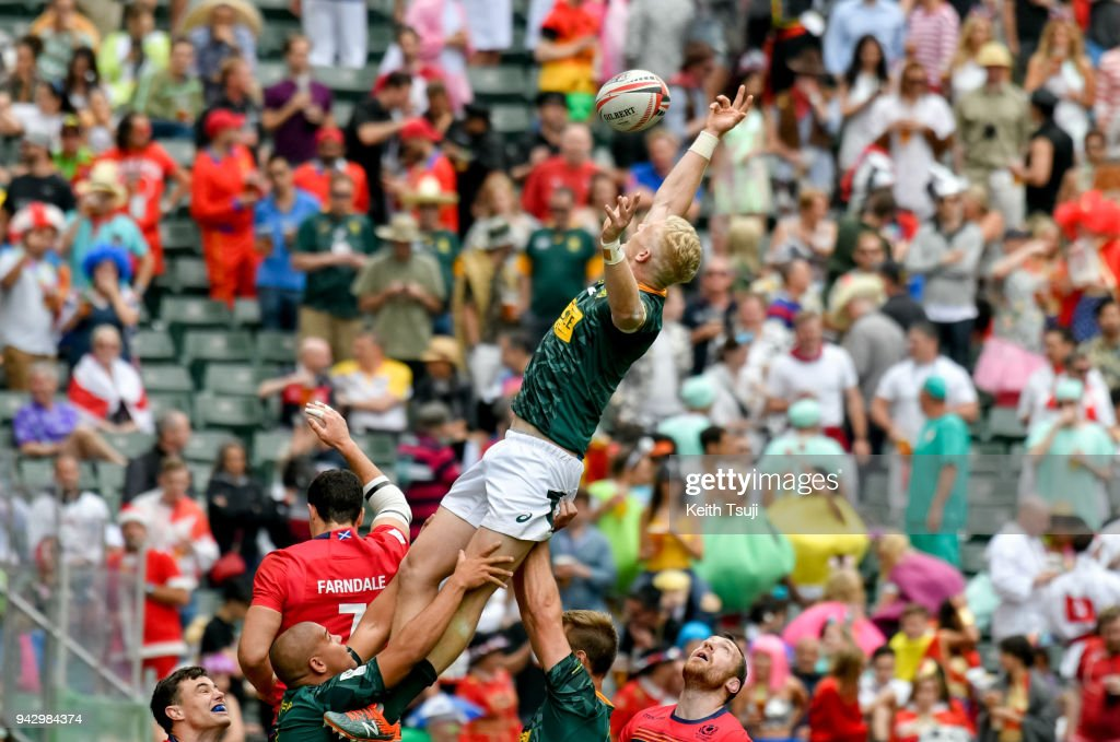 Ryan Oosthuizen of South Africa wins a line out during their match against Scotland on the second day of the Hong Kong Sevens on April 7, 2018 in Hong Kong.