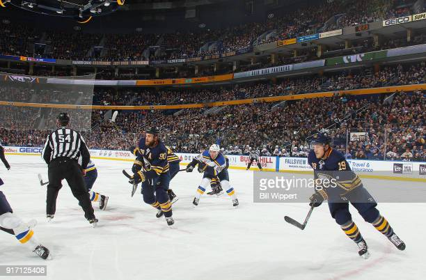 Ryan O'Reilly and Jake McCabe of the Buffalo Sabres skate during an NHL game against the St Louis Blues on February 3 2018 at KeyBank Center in...