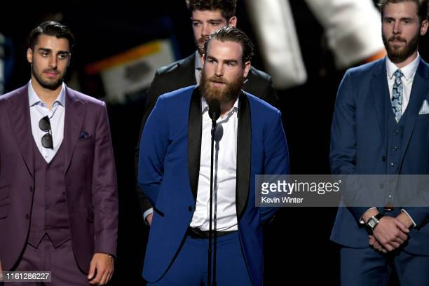 Ryan O'Reilly and St Louis Blues teammates accept the Best Comeback award onstage during The 2019 ESPYs at Microsoft Theater on July 10 2019 in Los...