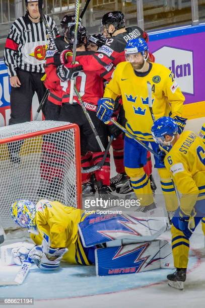 Ryan OReilly celebrates his goal with teammates during the Ice Hockey World Championship Gold medal game between Canada and Sweden at Lanxess Arena...