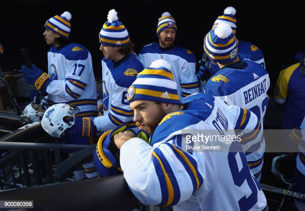 Ryan O'Reilly of the Buffalo Sabres gets ready for practice at Citi Field on December 31 2017 in the Flushing neighborhood of the Queens borough of...