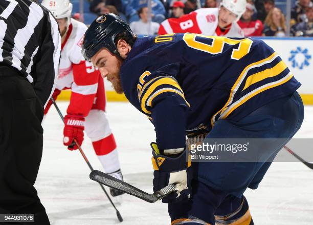 Ryan O'Reilly of the Buffalo Sabres prepares for a faceoff during an NHL game against the Detroit Red Wings on March 29 2018 at KeyBank Center in...